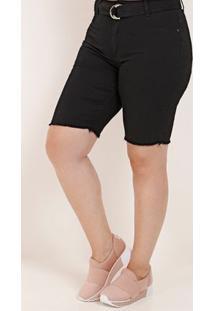 Bermuda Sarja Com Cinto Plus Size Feminina Preto