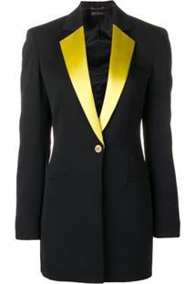 Versace Blazer Com Lapelas Contrastantes - Preto