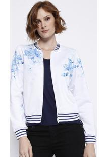 Jaqueta Floral Em Moletinho - Branca & Azul - Malweemalwee