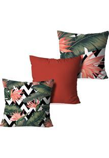 Kit 3 Capas Para Almofadas Decorativas Love Decor Tropical De Paradise Multicolorido Laranja - Kanui