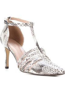 Scarpin Couro Shoestock Cobra Feeling Salto Alto - Feminino-Off White