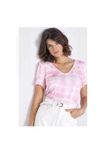 Camiseta Dudalina Tye-Die Rosa/Branca