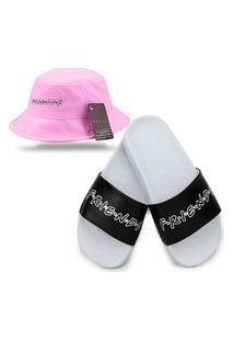 Chinelo Slide Branco Com Chapéu Bucket Rosa Personalizado Série Friends