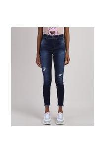 Calça Jeans Feminina Sawary Cigarrete Cintura Alta Com Rasgos Azul Escuro