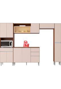 Cozinha Compacta C/ Balcão E Painel Vanessa-Poquema - Capuccino / Off White