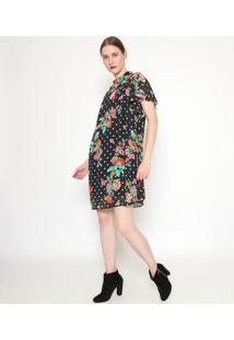Vestido Floral Com Recortes - Preto & Verde - Ahaaha