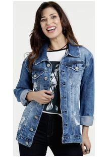 Jaqueta Feminina Jeans Destroyed Five Jeans