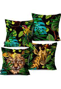 Kit Com 4 Capas Para Almofadas Pump Up Decorativas Fauna E Flora 45X45Cm - Preto - Dafiti