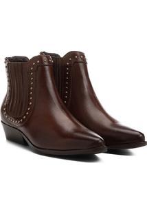 Bota Couro Chelsea Shoestock Cravinhos Feminina - Feminino-Marrom