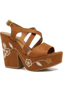 Sandália Zariff Shoes Plataforma Flores - Feminino-Marrom