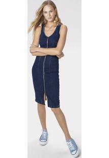 Vestido Jeans Midi Com Zíper