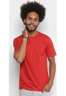 Camiseta Cavalera Básica Bordado Masculina - Masculino-Vermelho