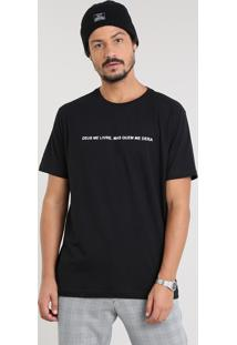 "Camiseta Masculina ""Quem Me Dera"" Manga Curta Gola Careca Preta"
