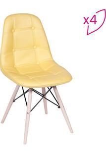 Jogo De Cadeiras Eames Botonãª- Amarelo & Bege- 4Pã§S