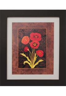 Quadro Montado Com Vidro E Papel Red Flower Ii 30X35Cm