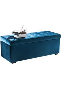 Puff Baú Veludo Azul 160 Cm