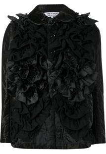 Comme Des Garçons Comme Des Garçons Fitted Ruffled Jacket - Preto