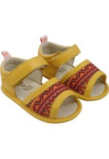 Sandália Catz Calçados Couro Lolla Hippie Feminina - Feminino-Amarelo