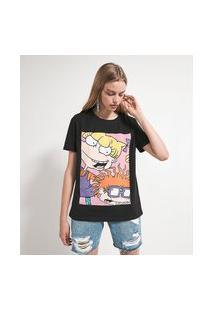 Camiseta Manga Curta Com Estampa Angélica Chuck | Rugrats | Preta | P