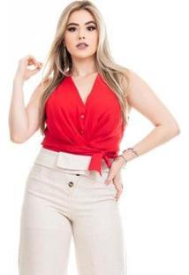 Blusa Clara Arruda Cintura Laço Feminina - Feminino-Vermelho