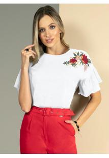Blusa Branca Com Bordados Em Floral E Mangas 3/4