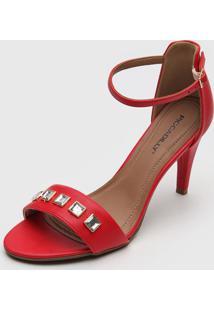 Sandália Piccadilly Aplicações Vermelha