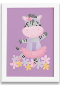 Quadro Bailarina Zebra Para Menina Moldura Branca 33X43Cm - Multicolorido - Dafiti