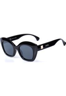 Óculos De Sol Otto Preto Com Detalhe Dourado