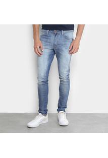Calça Jeans Skinny Ecko Estonada Masculina - Masculino-Azul