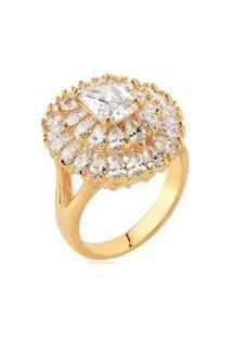 Anel Banho Ouro 18K Pedra Retângulo Cristal Zircônias