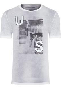 Camiseta Masculina Estampa Us Customs - Cinza