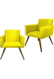 Kit 02 Poltronas Decorativa Pés Palito Nina Suede Amarelo - Ds Móveis - Tricae