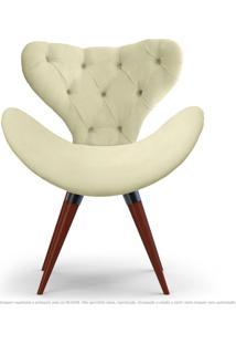 Poltrona Com Capitonê Decorativa Cadeira Egg Areia Com Base Fixa De Madeira