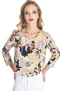 Blusa Floral Cropped Colcci Feminino - Feminino-Preto+Amarelo