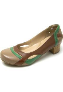 Sapato Retrô Salto Quadrado Dhl Feminino Marrom E Verde - Kanui