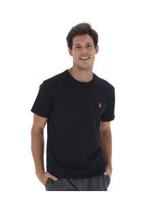 Camiseta Polo Us Gola Careca 606Tsgcb - Masculina - Preto/Rosa