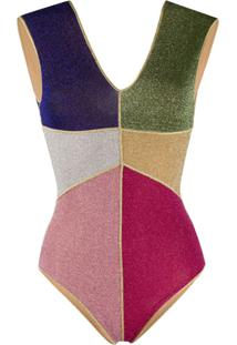 Oseree Lumiére Patchwork One-Piece Swimsuit - Rosa