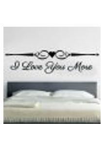 Adesivo De Parede De Cabeceira I Love You More - Eg 58X236Cm