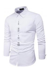 Camisa Masculina Slim Fit Com Detalhes Romanos Manga Longa - Branco