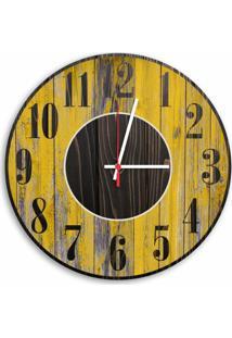 Relógio De Parede Decorativo Vintage Madeira Amarelo Pátina 35Cm Médio