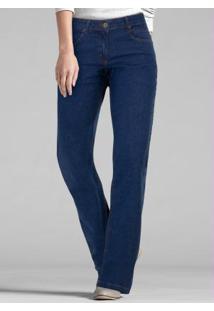 ... Calça Jeans Boot Cut-Perna Larguinha Azul Escuro 2cd299c8a65