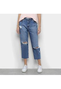 Calça Jeans Mob Boyfriend Rasgada Feminina - Feminino