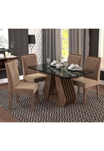 Conjunto De 4 Cadeiras Para Sala De Jantar 130X80 Agata/Nicole-Cimol - Marrocos / Preto / Pluma