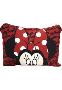 Necessaire Vermelho Assinatura Rosto Minnie - Disney
