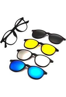 Óculos De Sol Armação Para Grau Redondo Clipon 4 Em 1 Isabela Dias Feminino - Feminino-Preto