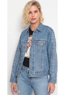Jaqueta Jeans Com Bordado- Azullevis