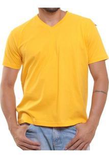 Camiseta Masculina Oitavo Ato Bordado Frontal Decote V Lisa - Masculino-Amarelo