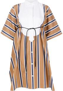 Sacai Vestido Bowtie Oversized Striped - Marrom