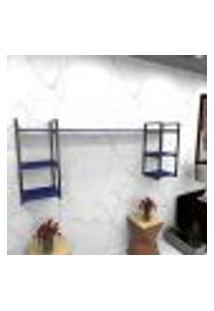 Estante Estilo Industrial Sala Aço Cor Preto 180X30X68Cm (C)X(L)X(A) Cor Mdf Azul Modelo Ind28Azsl