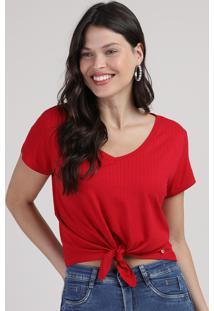 Blusa Feminina Cropped Canelada Com Nó Manga Curta Decote V Vermelha